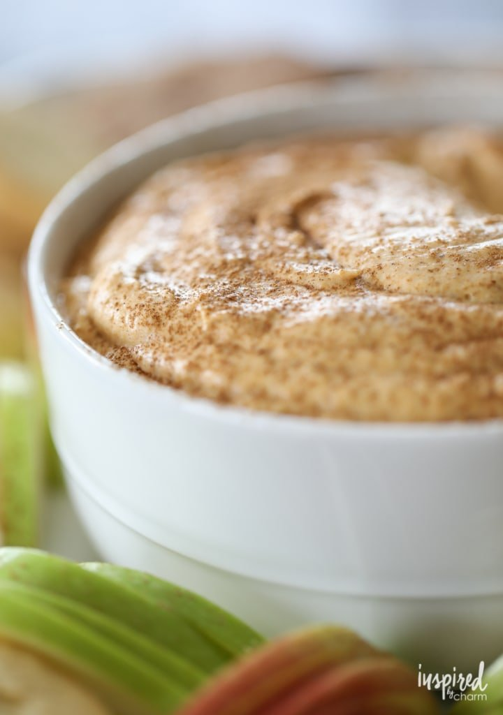 Pumpkin Spice Cheesecake Dip - a delicious pumpkin spice fruit and apple dip perfect for a fall dessert.