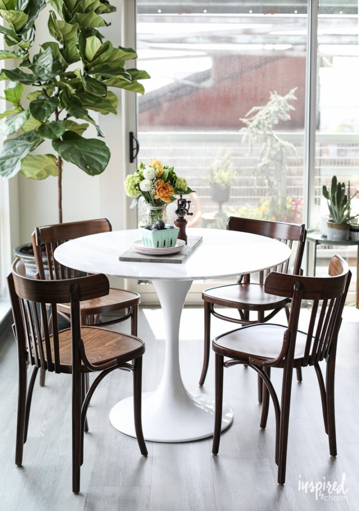 My Apartment Dining Room - white tulip marble dining table with walnut bistro chairs