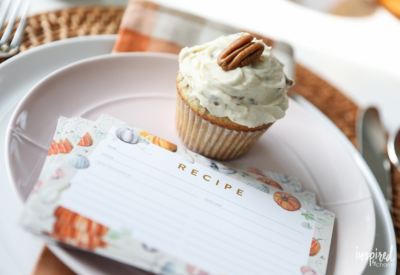 Butter Pecan Cupcakes + Fall Recipe Card Printable | Inspired by Charm