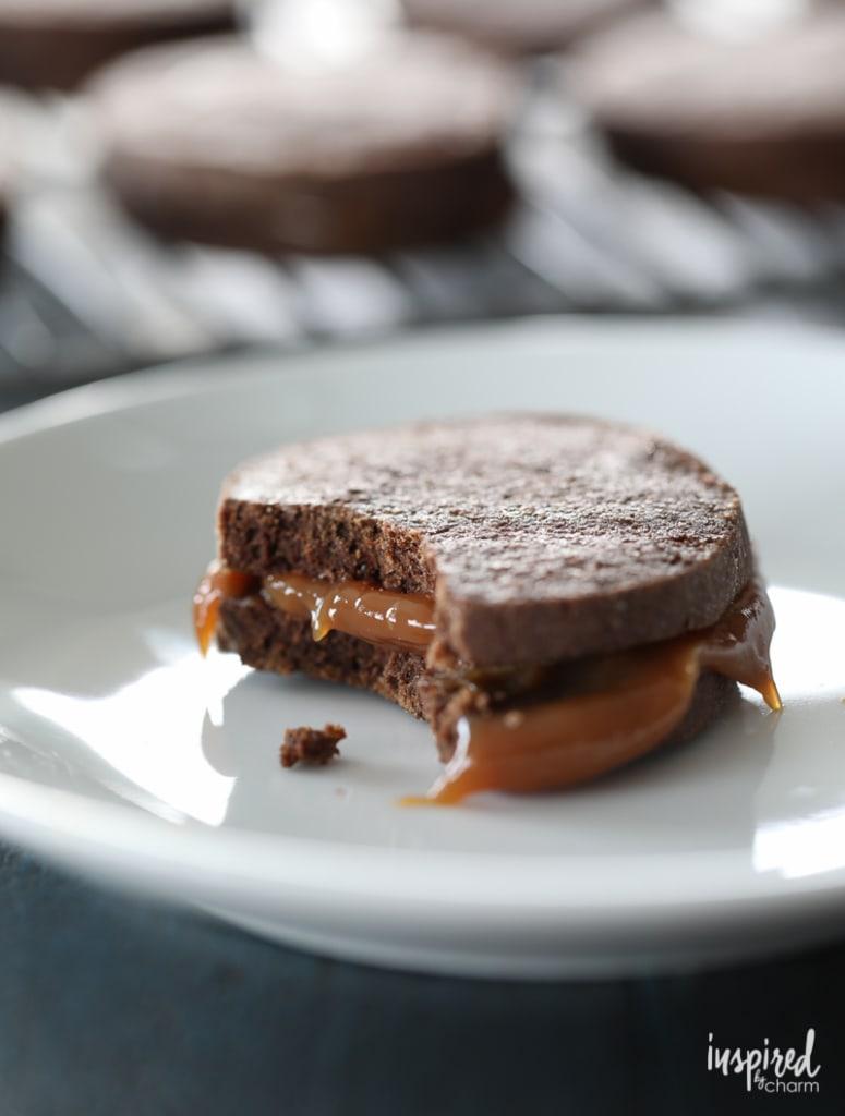 Dulce de Leche Chocolate Sandwich Cookies combine spiced chocolate cookies and rich dulce de leche for a delicious fall dessert.