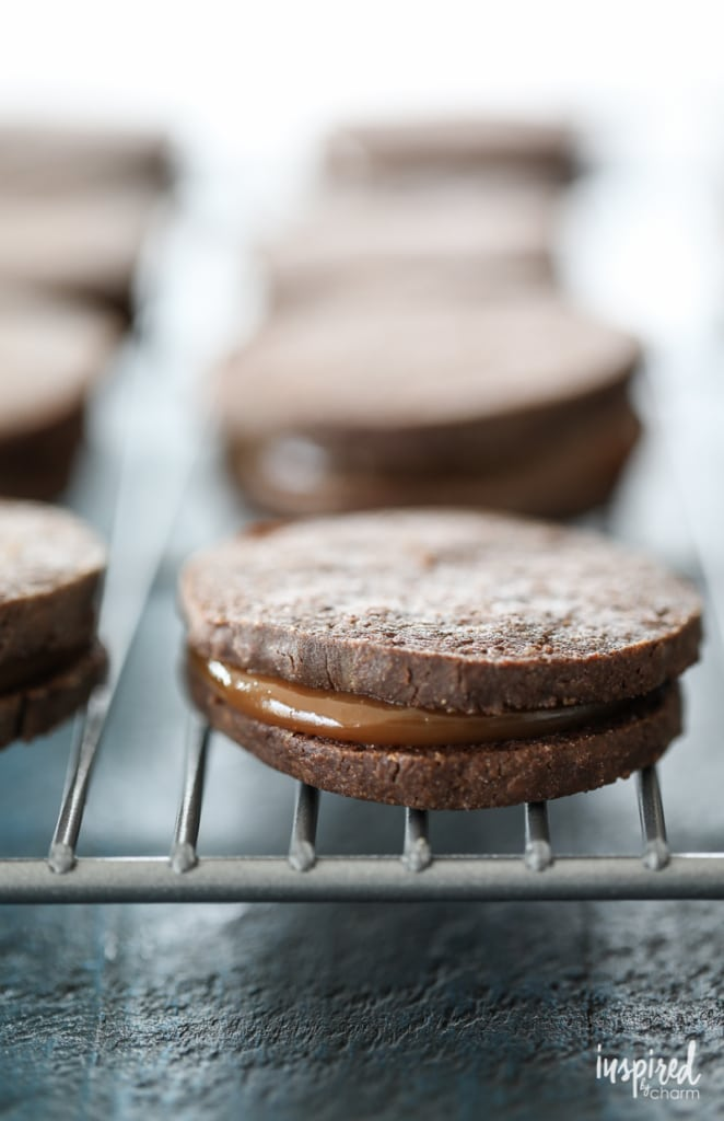Dulce de Leche Chocolate Sandwich Cookies combine spiced chocolate cookies and rich dulce de leche for a delicious fall dessert.