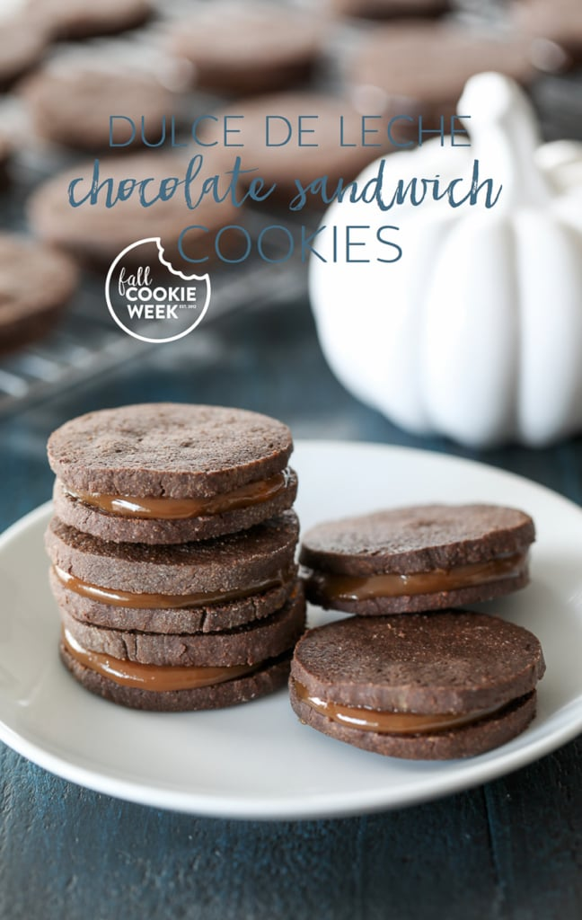 Dulce de Leche Chocolate Sandwich Cookies combine spiced chocolate cookies and rich dulce de leche for a delicious fall dessert. #fallcookieweek