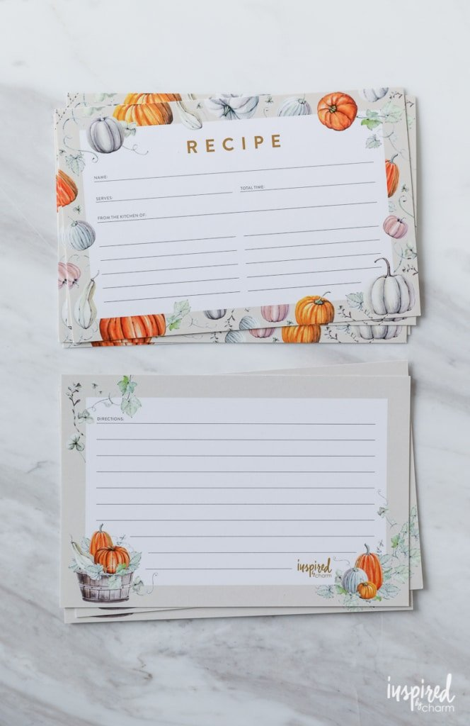 2017 Fall Pumpkin-Inspired Recipe Card Free Printable | Inspired by Charm