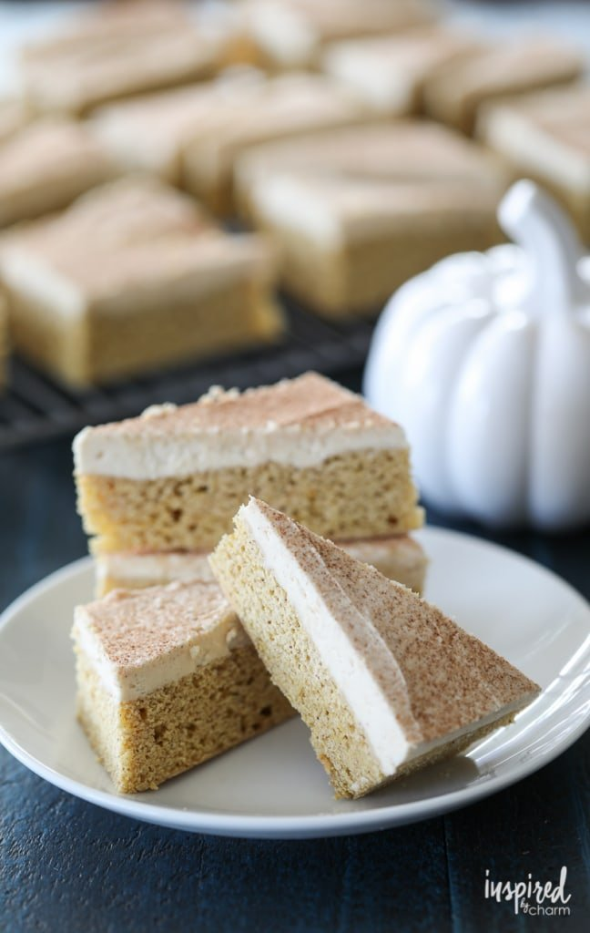 Pumpkin Cookie Bars with Maple Buttercream Frosting are the perfect fall dessert recipe full of seasonal flavor.