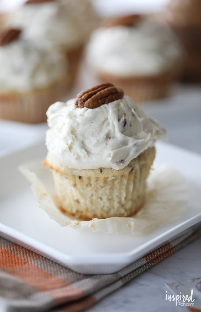 These Butter Pecan Cupcakes are loaded with toasted pecans making them the perfect fall treat.