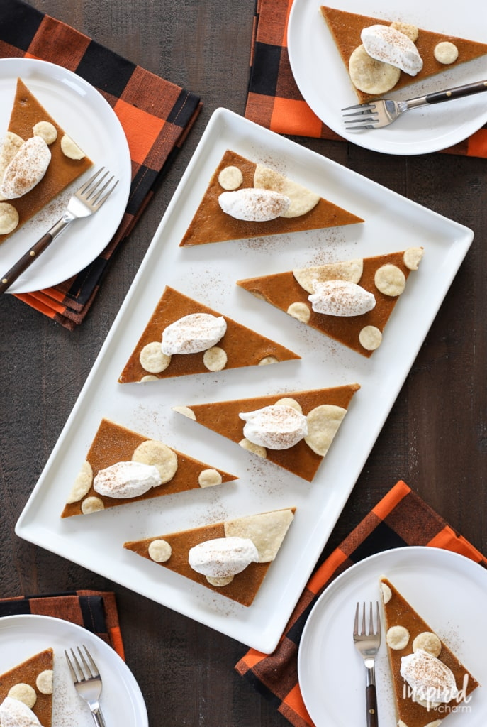 This Pumpkin Pan Pie recipe is a classic fall dessert with a modern twist perfect for entertaining.