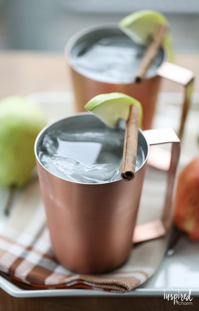 This Spiced Pear Moscow Mule is the perfect cocktail recipe to celebrate the fall season.