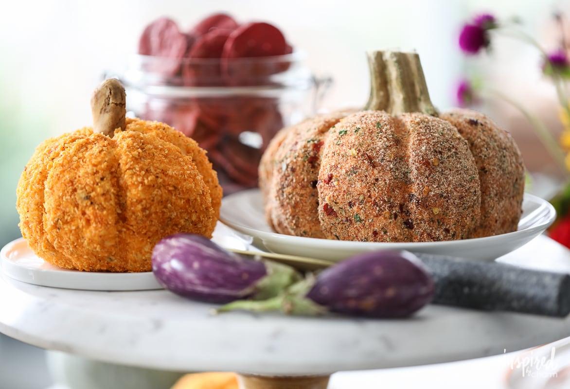 Everything Bagel Cheeseball and Sun-Dried Tomato Cheeseball: Fall-inspired and pumpkin shaped cheeseball recipes for entertaining.