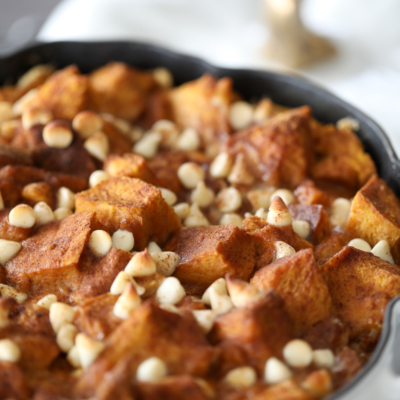 Pumpkin White Chocolate Bread Pudding | Inspired by Charm