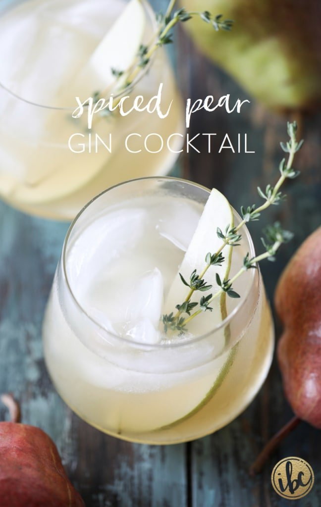 Spiced Pear Gin Cocktail is the perfect signature cocktail for Thanksgiving or any fall celebration.