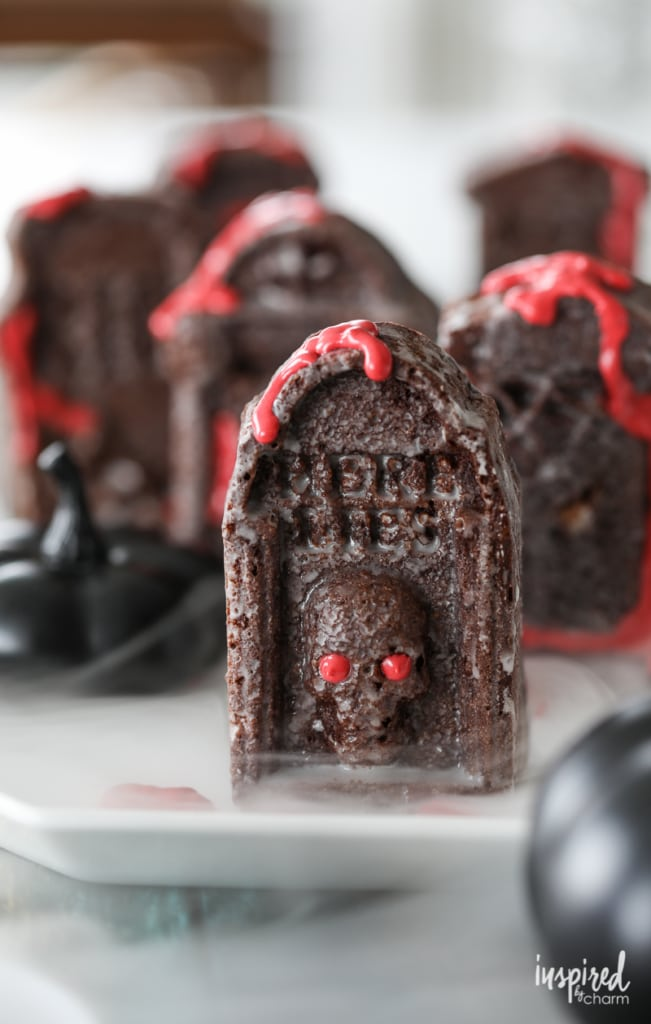 Chocolate Tombstone Snack Cakes - the perfect haunted Halloween dessert recipe.