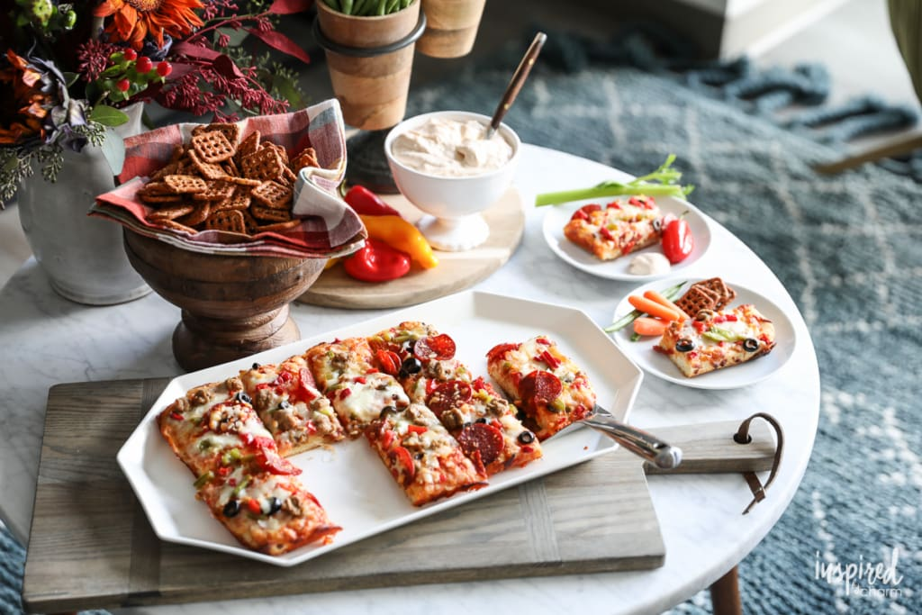 TV Viewing Pizza Party with Pizza Seasoned Pretzels | Inspired by Charm