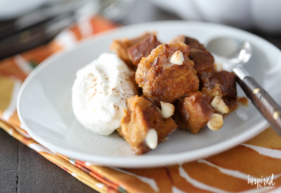 This Pumpkin White Chocolate Bread Pudding made with challah bread and pumpkin custard is the perfect dessert for fall.