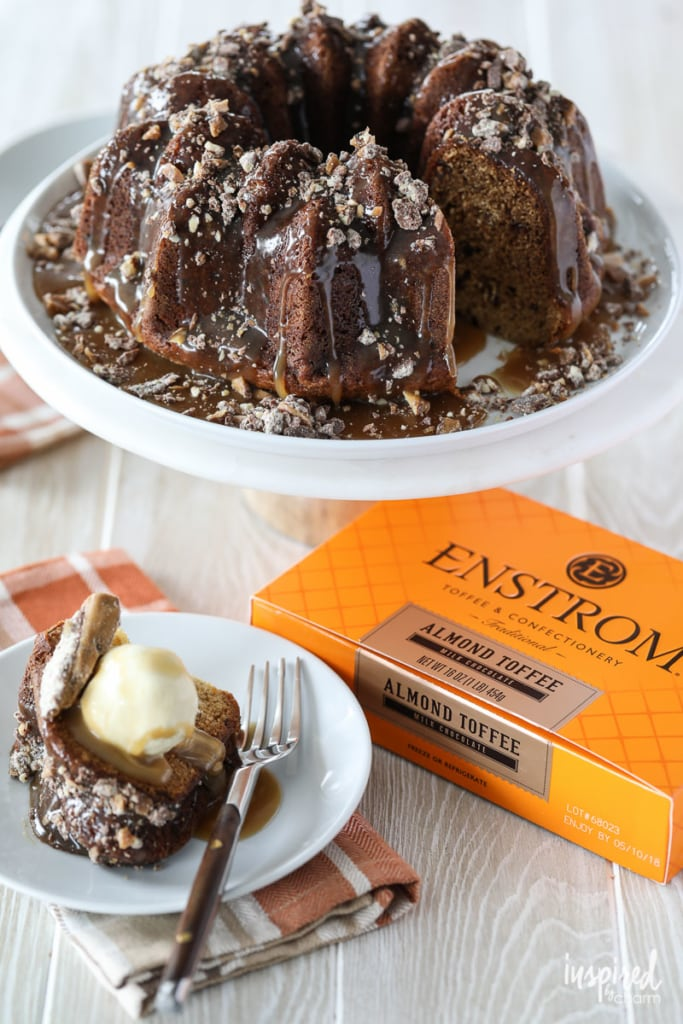 Sticky Toffee Cake with Enstrom Chocolate Almond Toffee