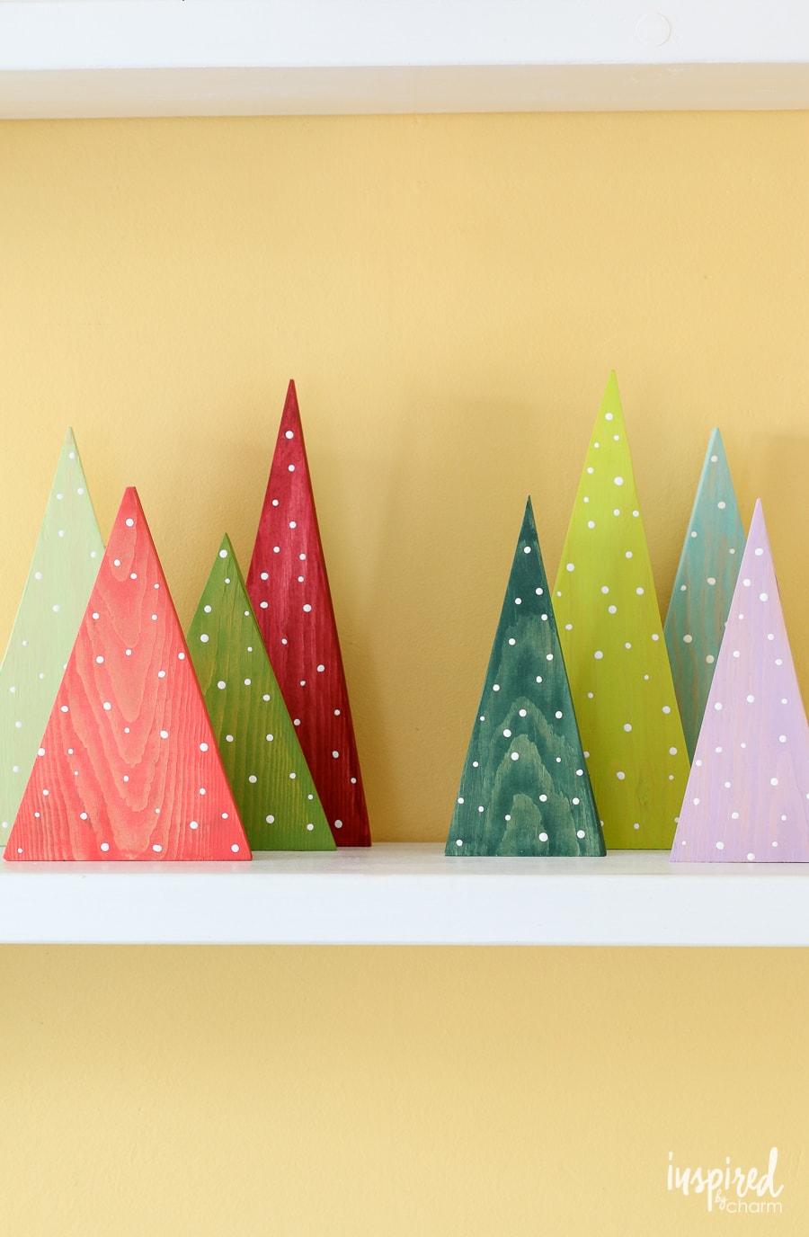 DIY Colorful Wood Christmas Tree Decorations