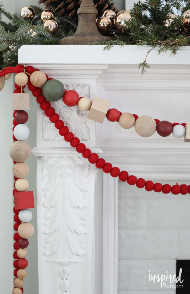 Wood Garland for Holiday Christmas Mantel