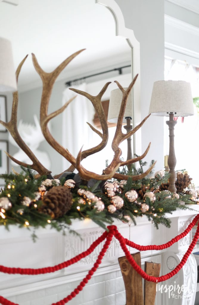 Styling a Christmas Mantel with Modern Farmhouse Style.