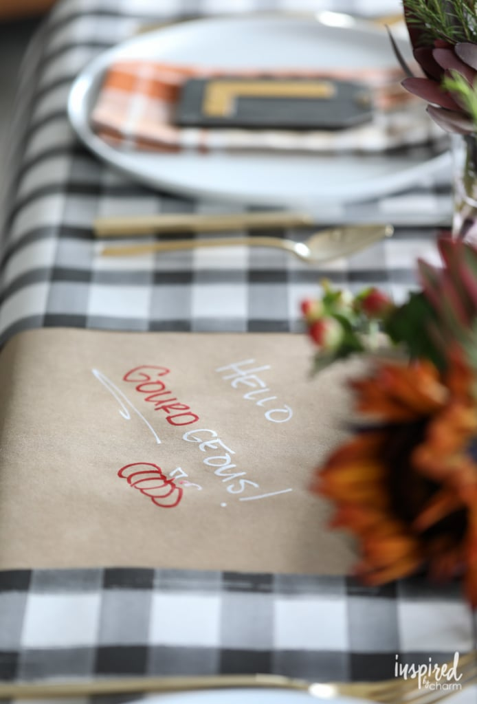 Friendsgiving ideas - craft paper as a table cover