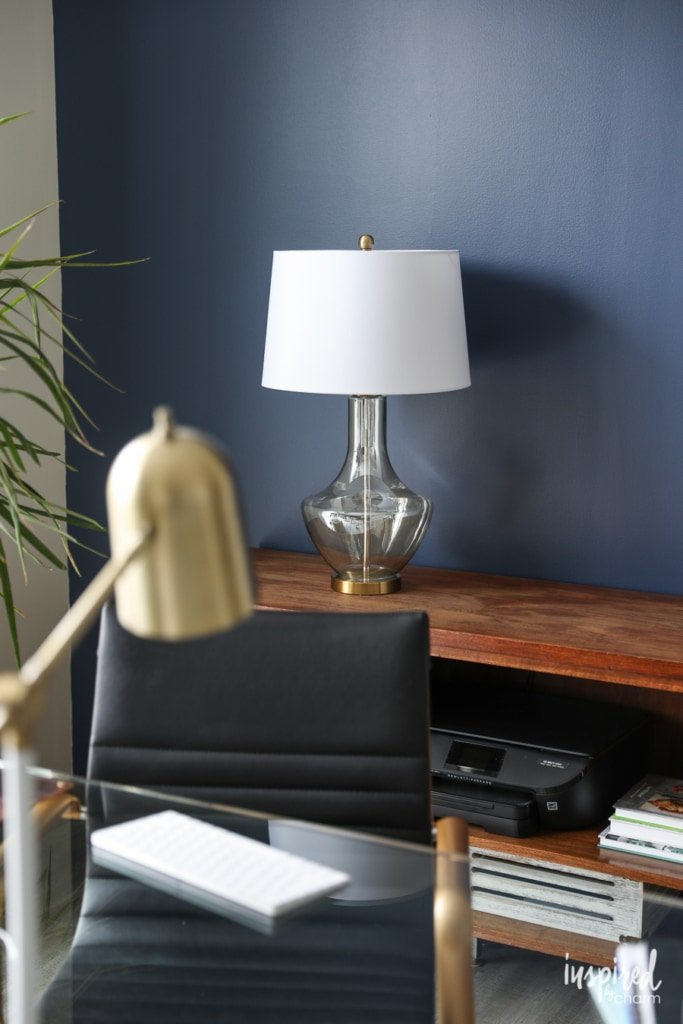 Brass and Smoke Glass Desk Lamp