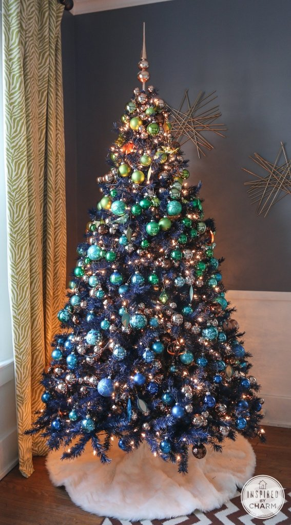 Navy Blue Tree - copper ornament garland christmas tree decorations