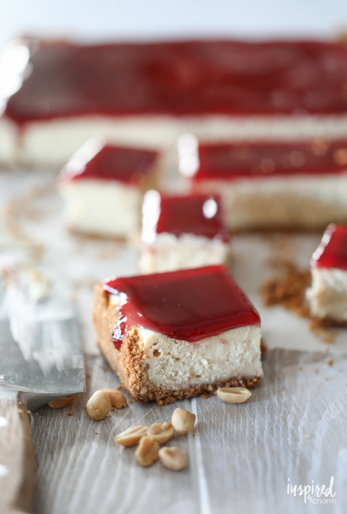 These Peanut Butter and Jelly Cheesecake Bars are a dessert everyone will love.