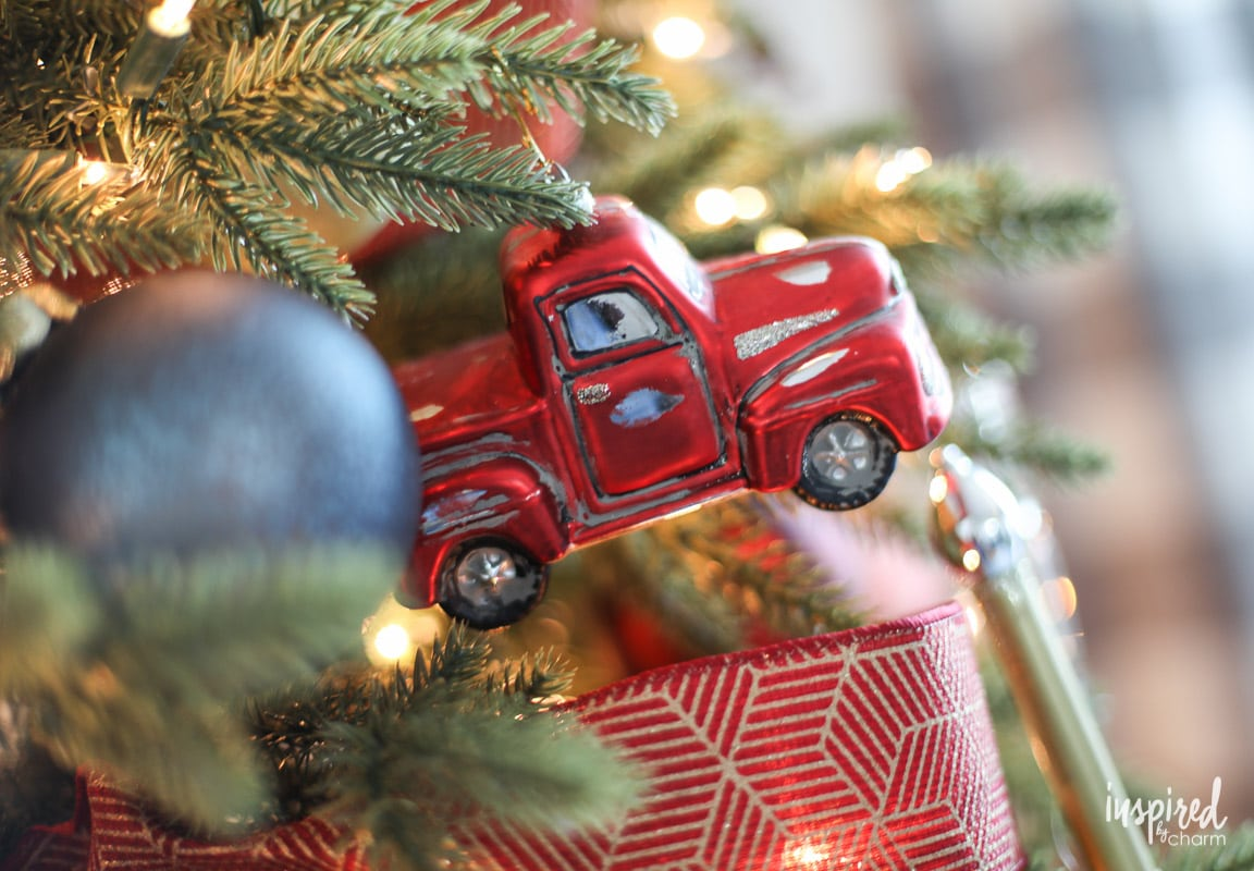 Red Truck Vintage Ornament - Rustic Modern Christmas Tree