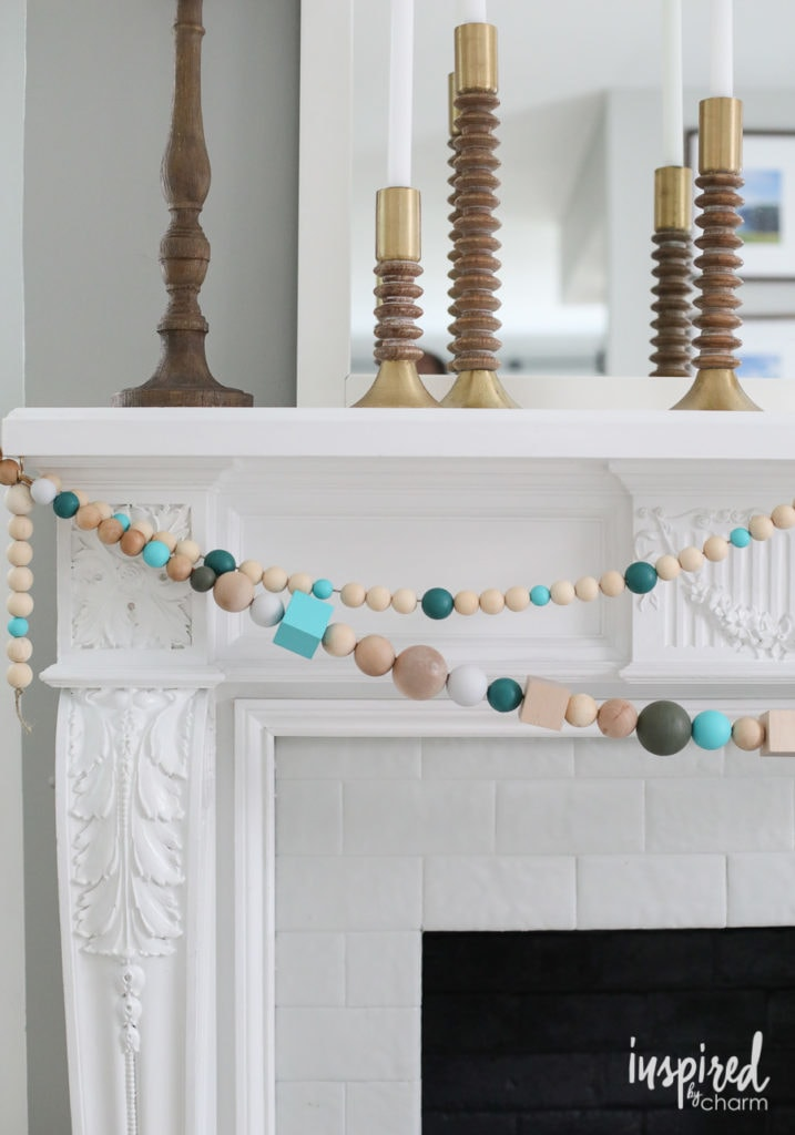 DIY Christmas Wood Bead Garland for a mantel