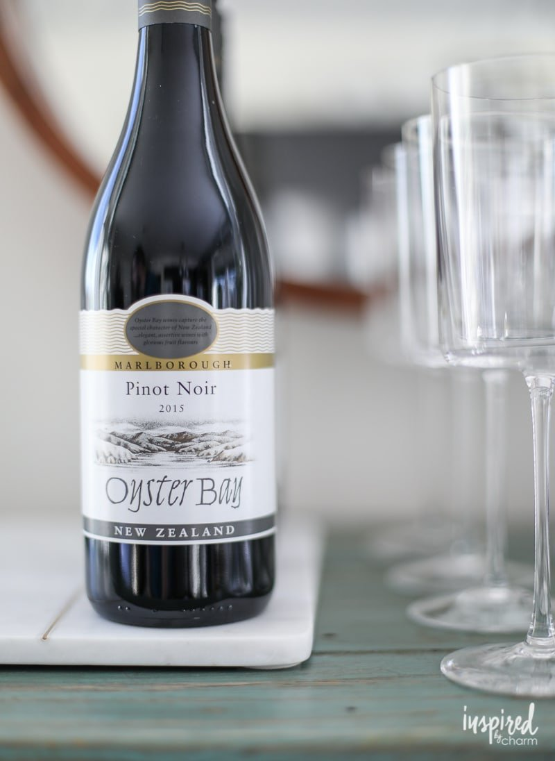 Oyster Bay Pinot Noir, PLUS how to style a festive holiday bar cart!