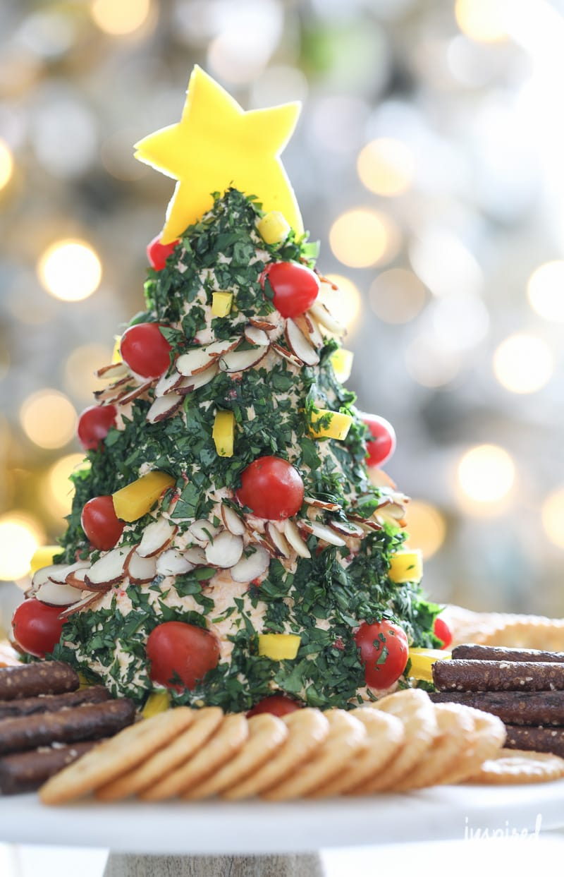 Festive Christmas Tree Cheese Ball appetizer recipe