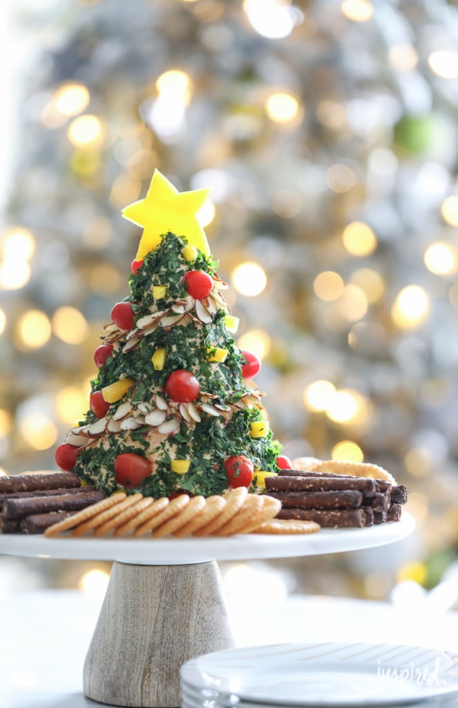 How to make a Christmas Tree Shaped Cheese Ball #christmas #appetizer #cheeseball #recipe