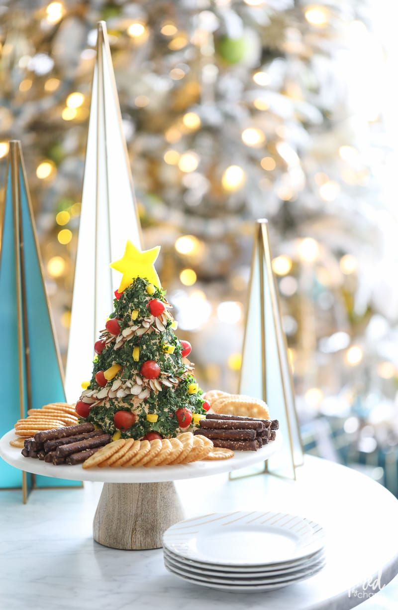 This Christmas Tree Cheese Ball make the perfect holiday appetizer recipe.