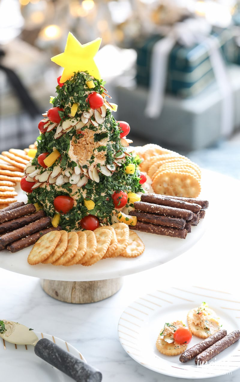 Christmas Tree Cheese Ball appetizer recipe for Holiday entertaining