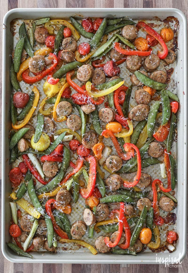 Create this delicious Sausage and Pepper Sheet Pan Dinner with ease!