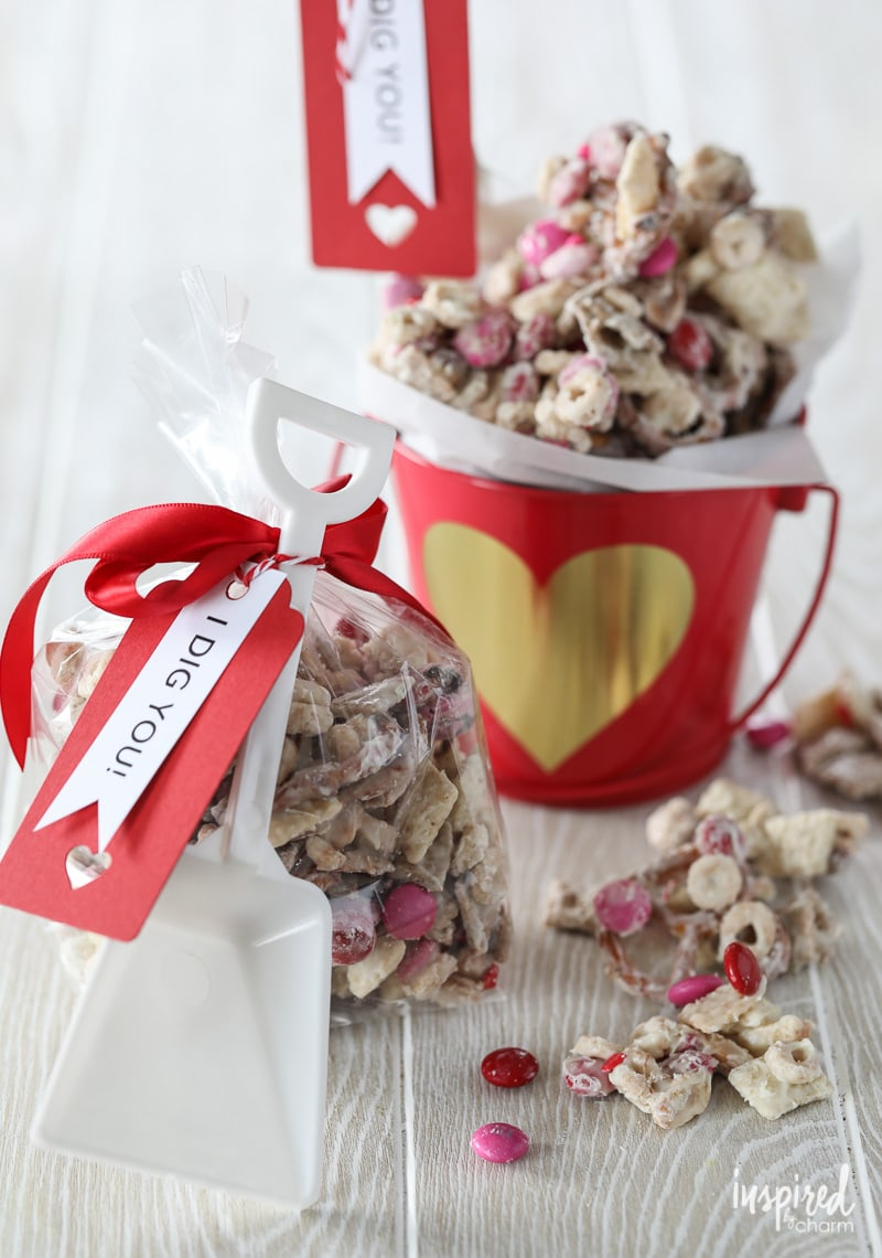 Create a tasty valentine with this Valentine's Day White Chocolate Chex Mix.