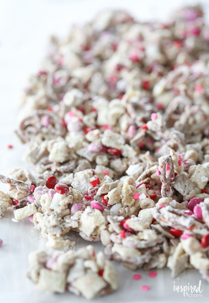 How to make Valentine's Day White Chocolate Chex Mix | Inspired by Charm