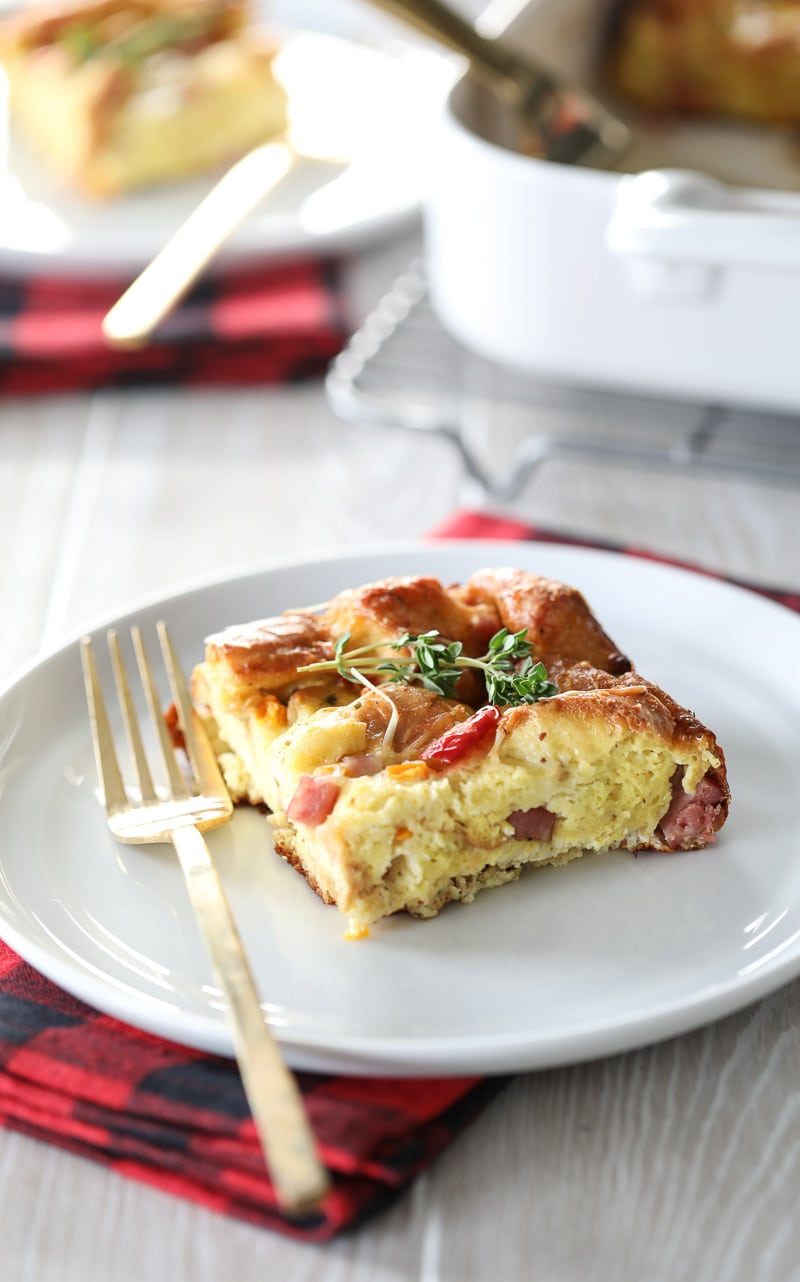 An easy ham and cheese overnight breakfast casserole!