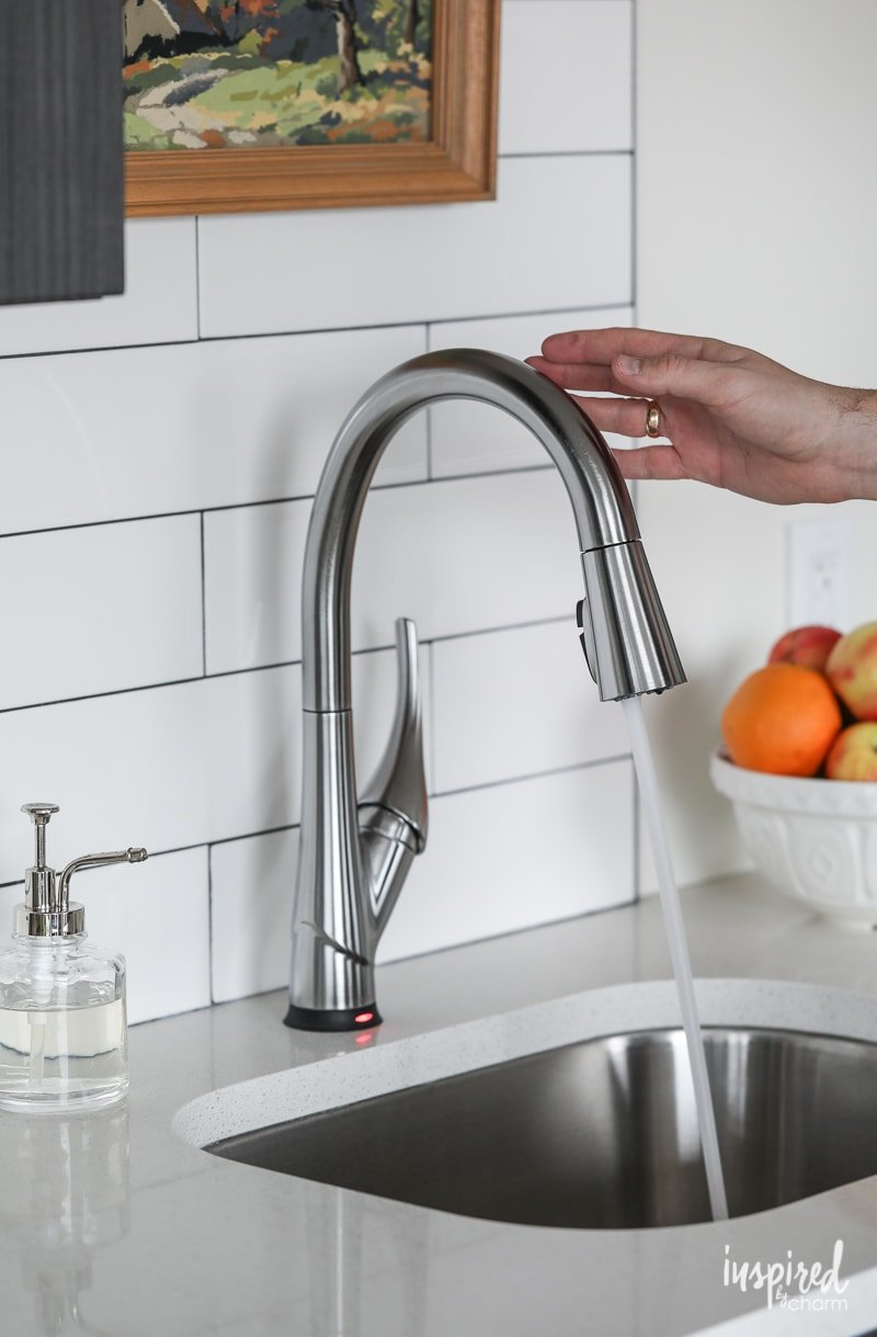 Delta Esque Pull-Down Kitchen Faucet with Touch2O and ShieldSpray Technologies