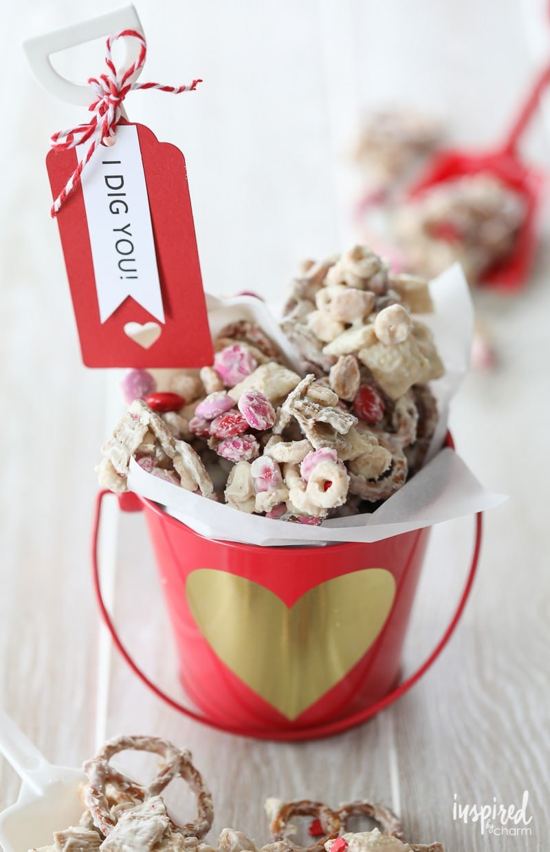 This Valentine's Day White Chocolate Chex Mix makes the perfect sweet treat to give.