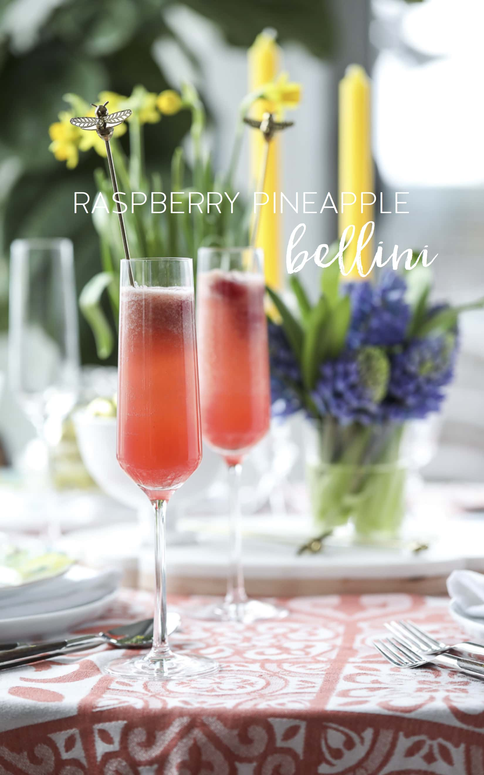This Raspberry Pineapple #Bellini Recipe is a delicious #spring #cocktail #recipe!