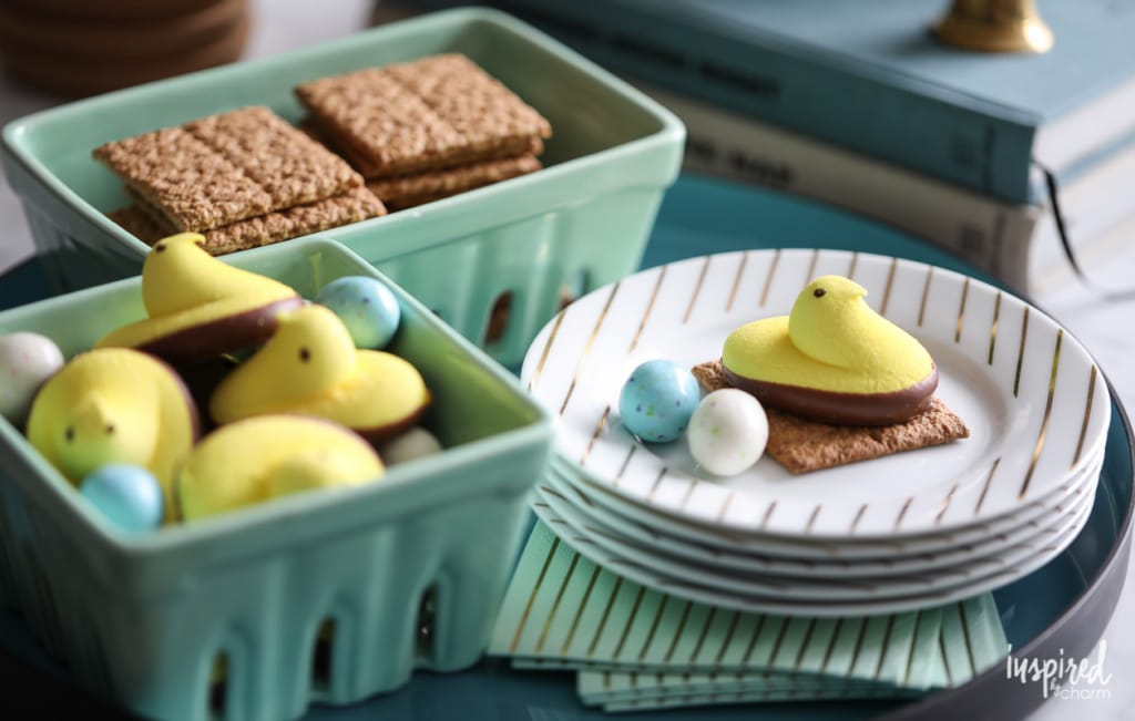 Peep S'more for Easter - plus creative Spring Decorating Ideas #spring #decor #decorating
