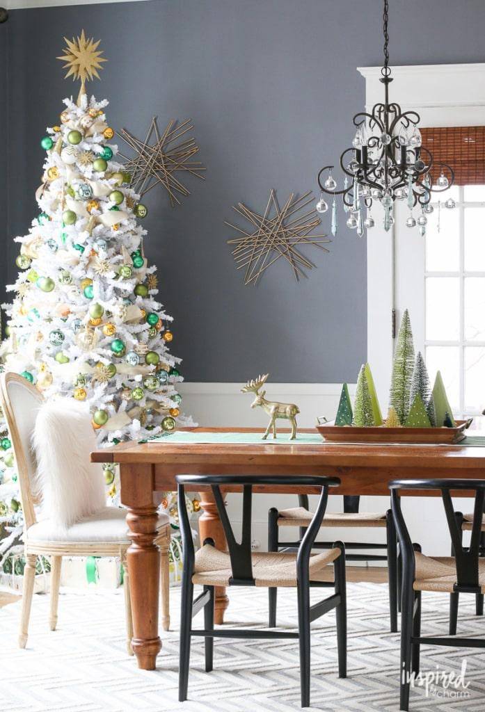 White Christmas Tree Dining Room Dior Gray