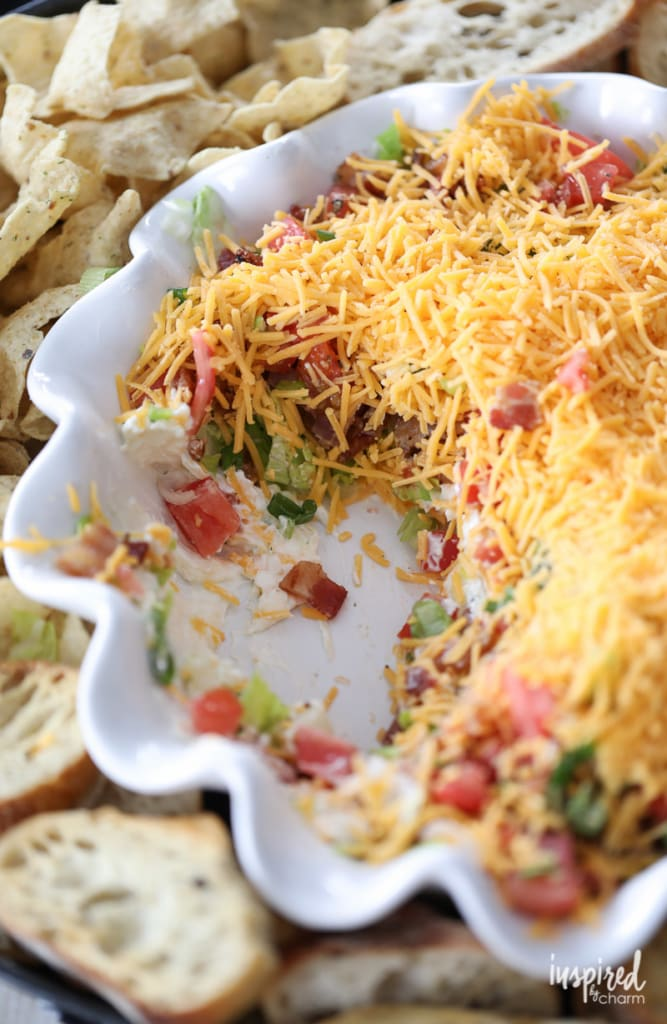 The Ultimate BLT Dip Recipe layered with Bacon, Lettuce, Tomato and Cheese! #BLT #dip #appetizer #recipe #bacon