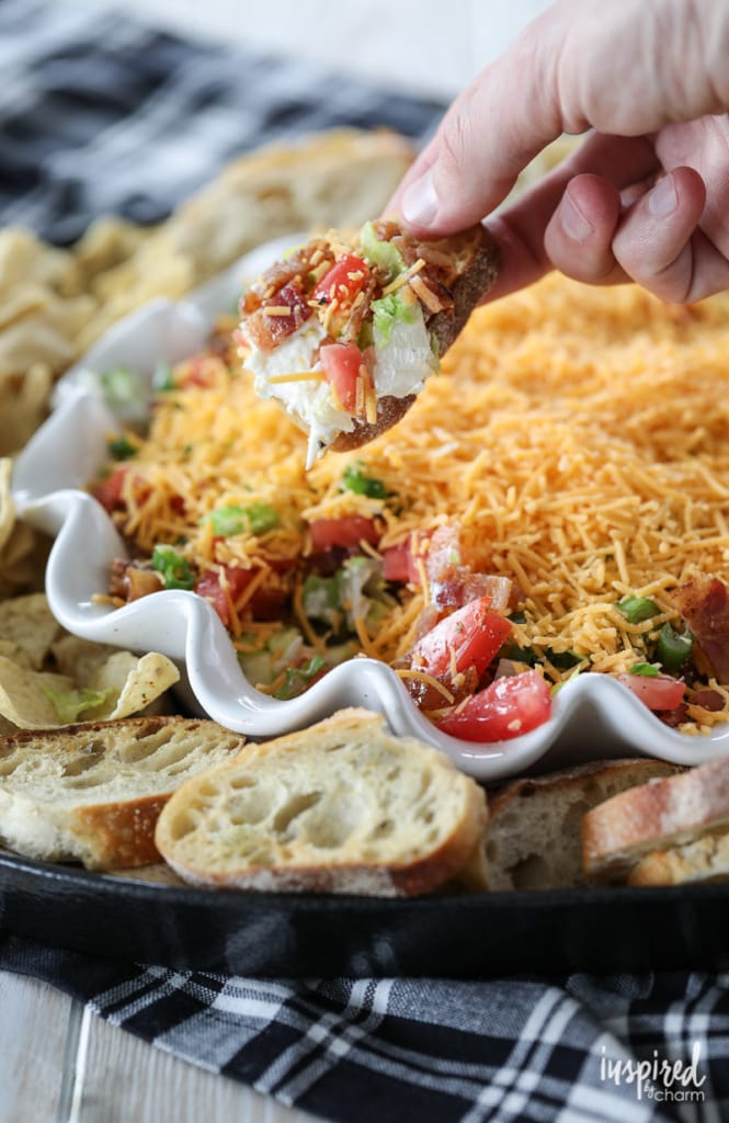 The Ultimate BLT Dip Recipe layered with Bacon, Lettuce, Tomato and Cheese! #BLT #dip #appetizer #recipe #bacon #christmas