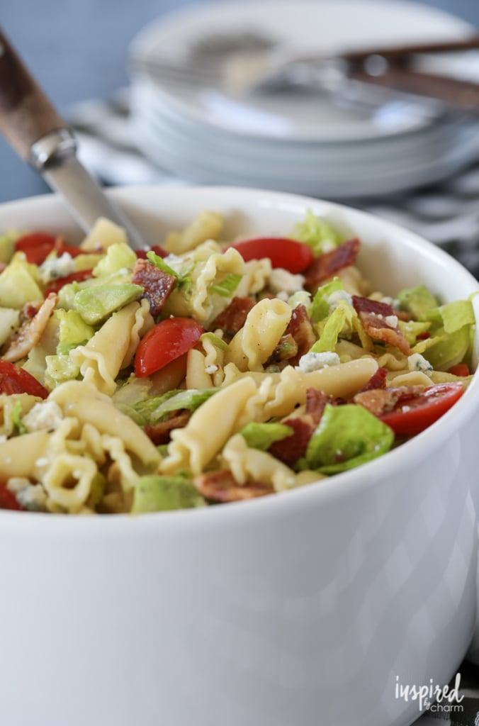 An easy summer pasta salad, this California Cobb Pasta Salad is loaded with delicious flavor. #pasta #salad #recipe #avocado