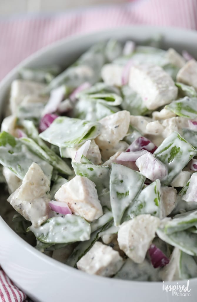This Snow Pea and Chicken Salad Recipe is a delicious and easy recipe for entertaining or a quick meal.