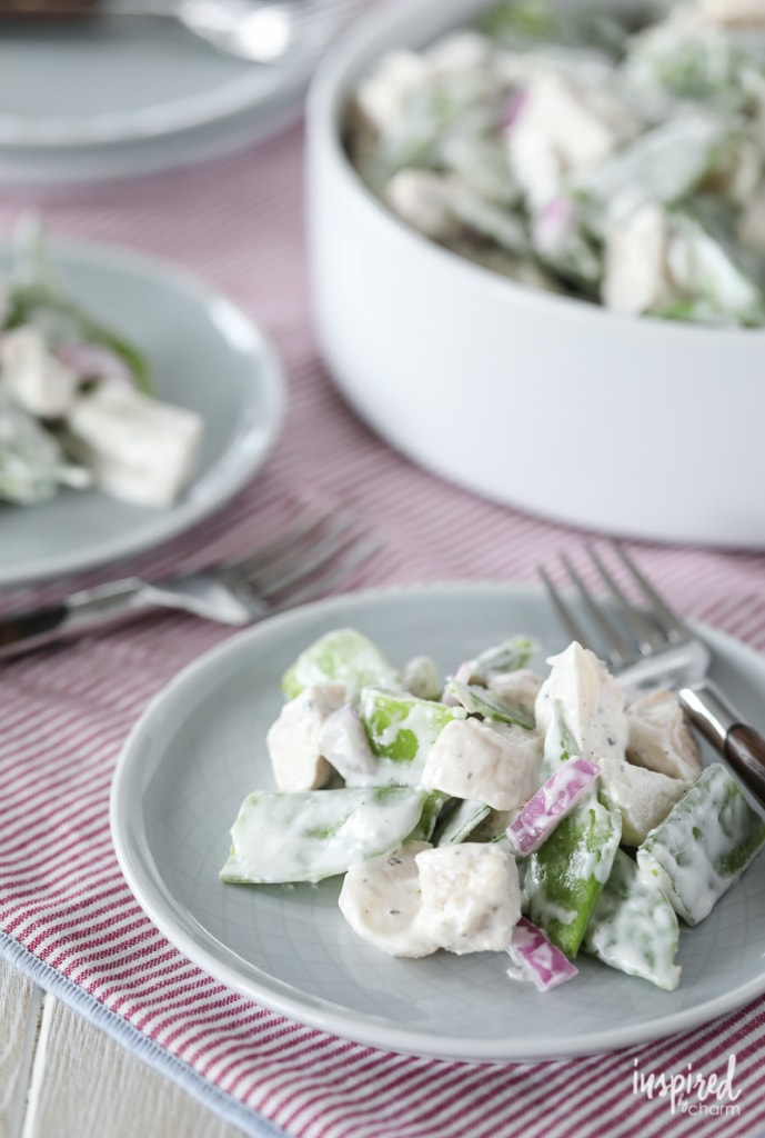 This Snow Pea and Chicken Salad Recipe is a delicious and unique take on classic chicken salad.