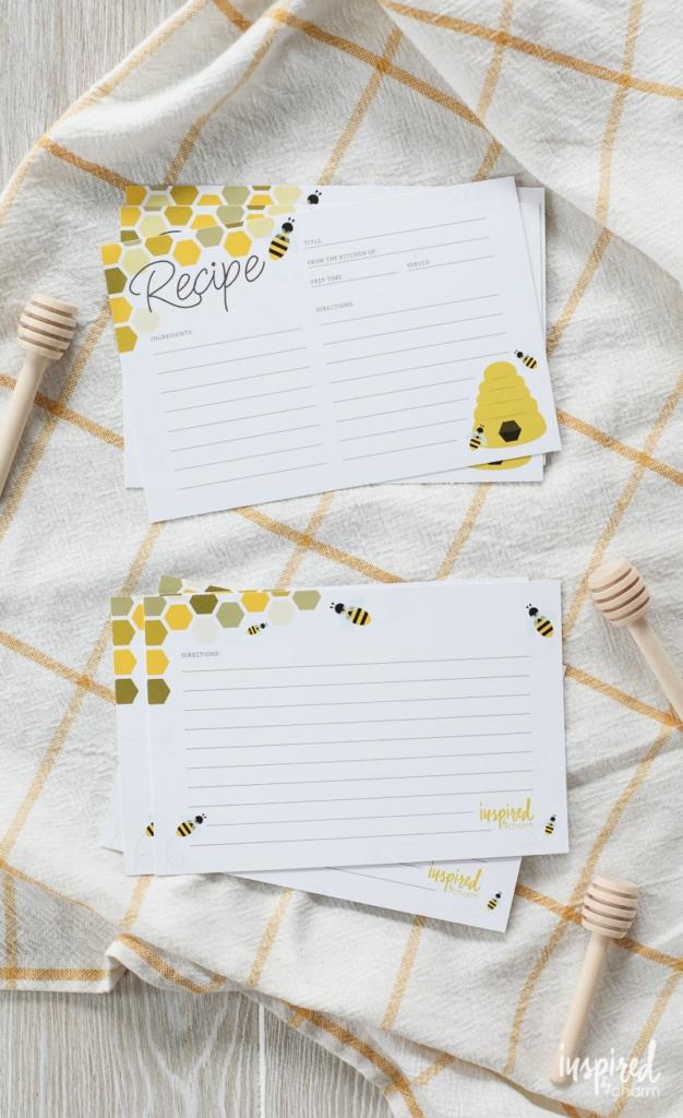 Honey Bee Free Printable Recipe Cards