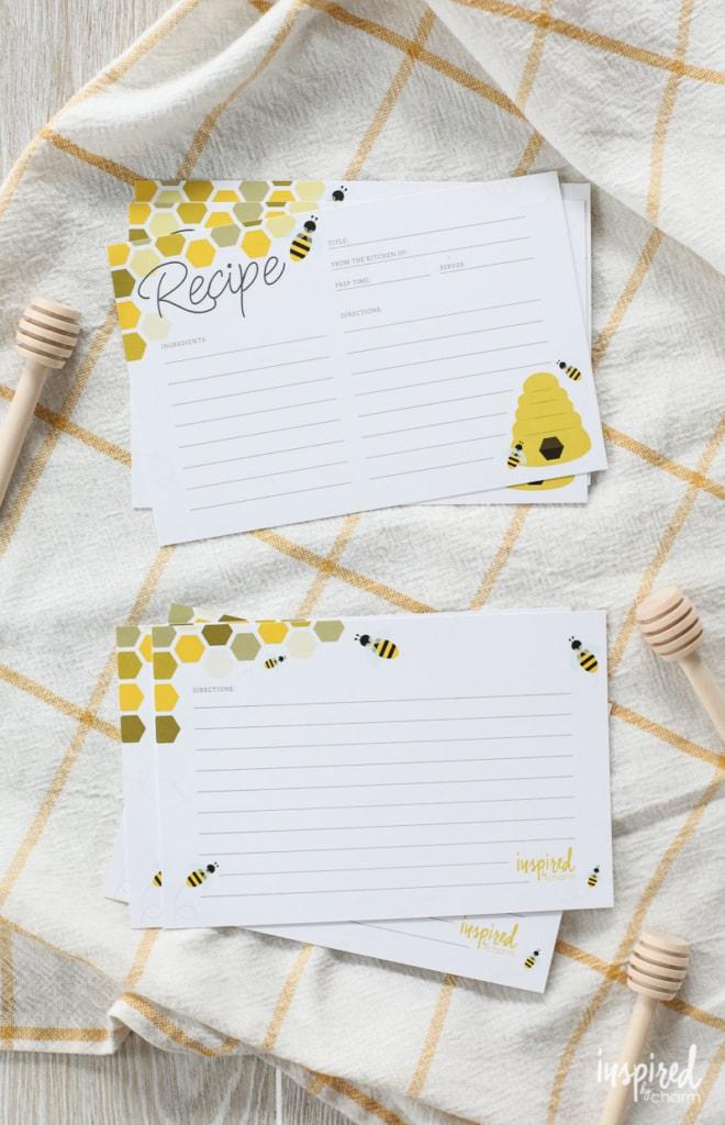Download and Print these bee-utiful Honey Bee Free Printable Recipe Cards #free #printable #recipecards #recipecard #bee #honeybee