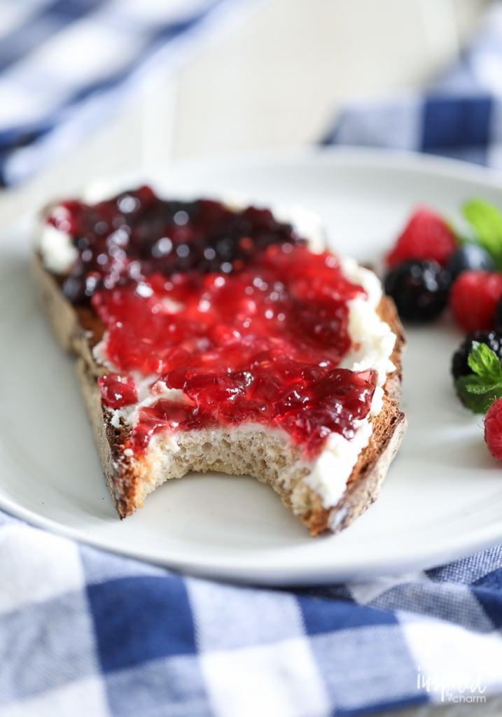I love Ricotta Toast with Three Jams for an easy beautiful breakfast treat. #ricotta #toast #breakfast #berry #jam #jelly