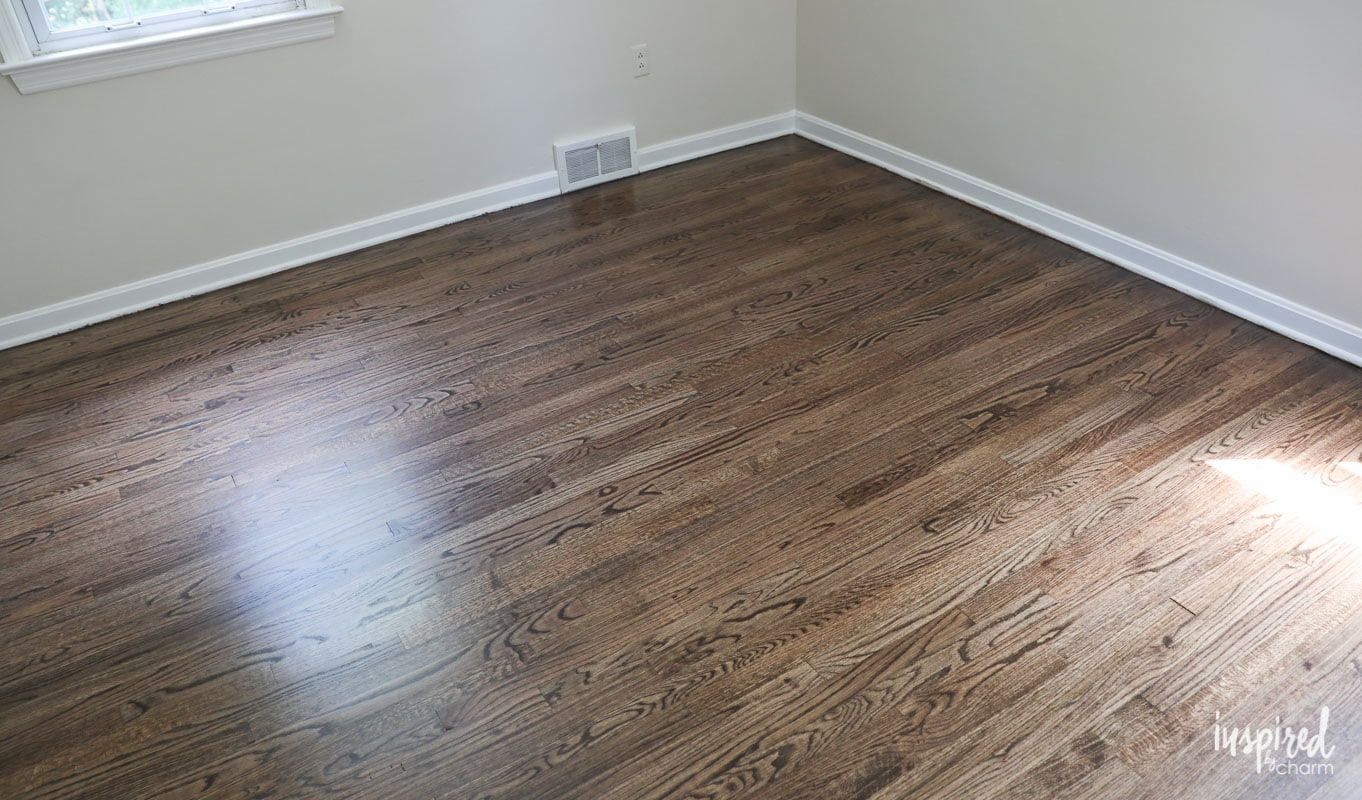 Refinished Hardwood Floors With Dark Walnut Stain And Satin Poly Finish
